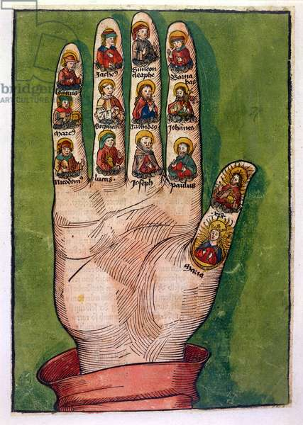 Mystic hand of Bridget of Sweden depicting Christ, the Virgin Mary, apostles and others, 1491 (hand coloured engraving)