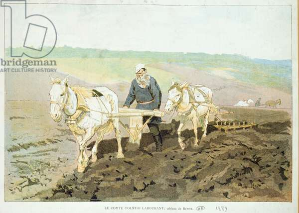 The writer Lev Nikolaevich Tolstoy (1828-1910) ploughing with horses, 1889 (colour litho)