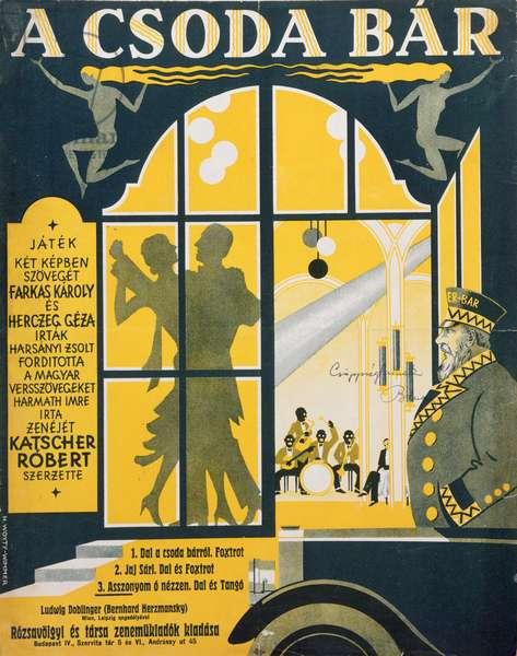Sheet music for 'A csoda bár' (colour litho)