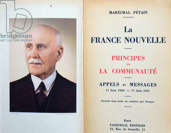 Frontispiece of 'La France Nouvelle' by Marshal Petain (1856-1951) 1940-41 (colour litho)