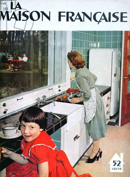 Advertisement for a kitchen, from 'La Maison Francaise', front cover, November 1951 (colour litho)