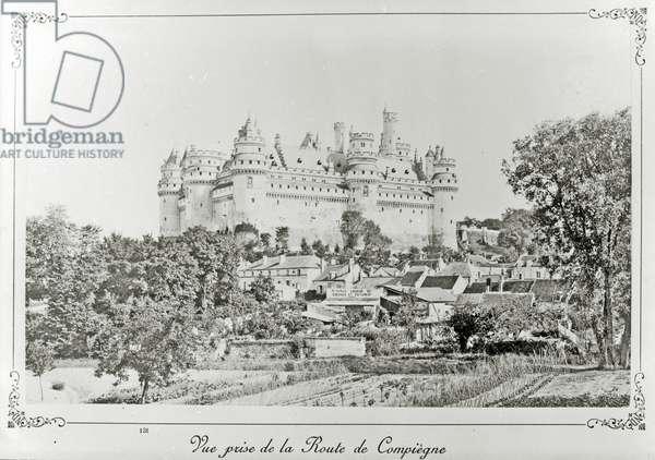 Château de Pierrefonds after the restoration by Viollet-le-Duc (b/w photo)