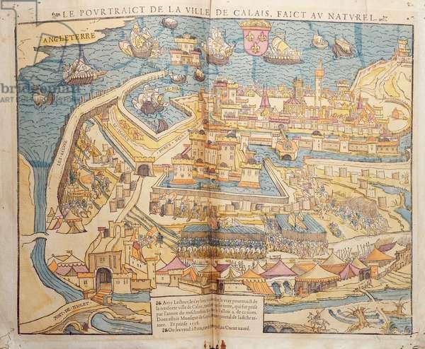 The Siege of Calais, 1558 (coloured woodcut)
