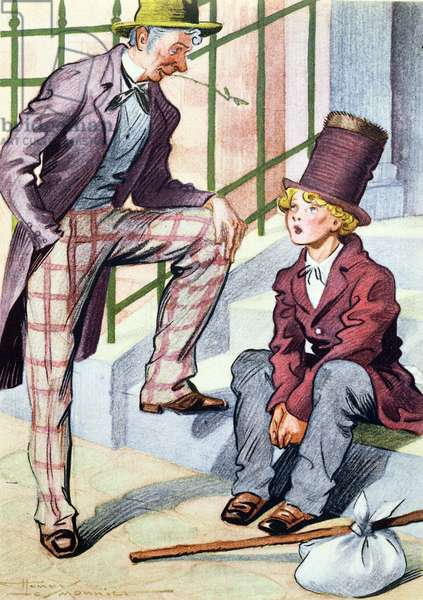 Illustration from 'Oliver Twist' by Charles Dickens (1812-70) 1954 (colour litho)