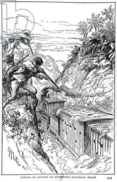Attack by Cubans on fortified railroad train, illustration from 'The Story of Cuba' by Murat Halstead, published 1898 (engraving) (b/w photo)