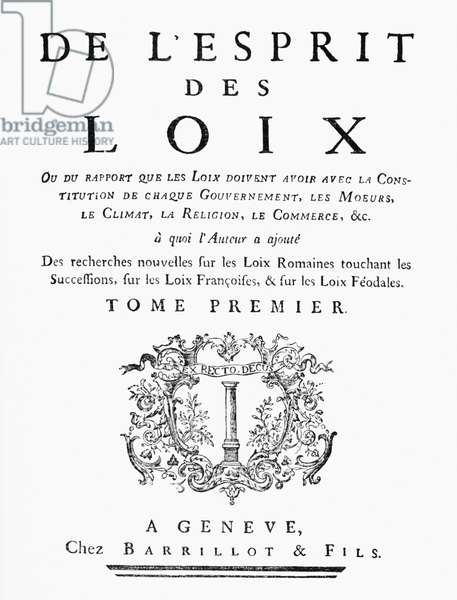 Titlepage of 'De L'Esprit des Loix' by Charles de Montesquieu (1689-1755) 1748, published Geneve (b/w photo)