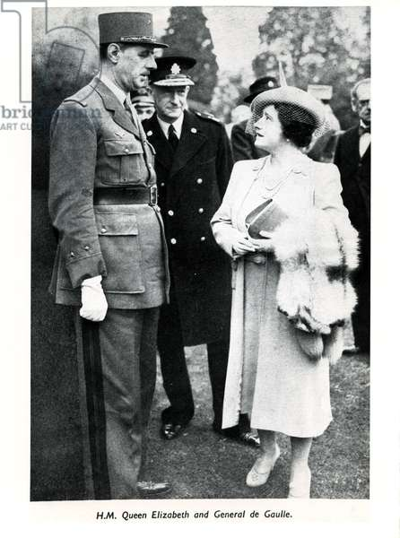 Queen Elizabeth with General Charles De Gaulle on her visit to the Convalescent Home for Free French Naval Forces, November 2, 1941 (b/w photo)