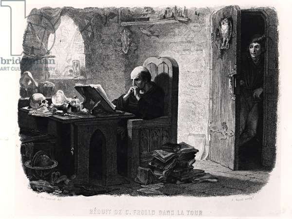 Claude Frollo in the Tiny Room of the Tower, illustration from 'Notre-Dame de Paris' (1831) by Victor Hugo (1802-85), engraved by Auguste Francois Garnier, 1844 (engraving) (b/w photo)