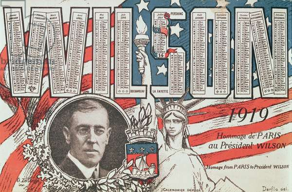 Calendar paying homage from Paris to President Woodrow Wilson (1856-1924), 1919 (colour litho)