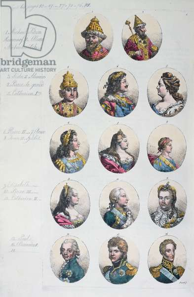 The Romanov Dynasty, from 'Costume Antico e Moderno' by Gulio Ferrario, c.1820 (colour litho)
