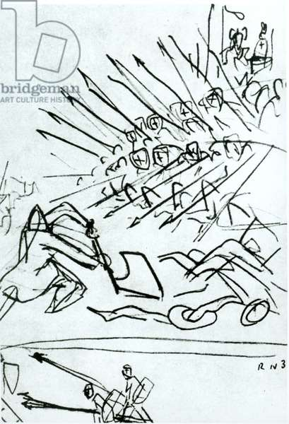 The Battle of the Lake, sketch of a scene from the film 'Alexander Nevsky', 1938 (pen & ink on paper) (b/w photo)