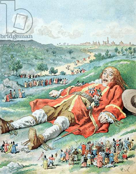 'Je trouvai mes bras et mes jambes attaches a la terre...', illustration from 'Les Voyages de Gulliver' by Jonathan Swift (1667-1745) (colour litho)