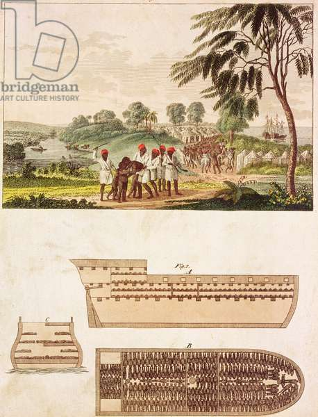 Plans of a Slave Ship and an Illustration of a Slave Camp (coloured engraving)