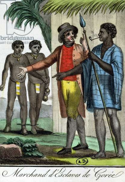 Slave Merchant in Goree Island, Senegal, from 'Encyclopedie des Voyages', engraved by L.F. Labrousse, 1796 (colour engraving)