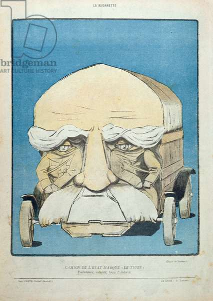 'Endurant, Solide, Boit l'Obstacle', caricature of Georges Clemenceau (1841-1929) as a truck, from 'La Baionnette', 1914-18 (colour litho)