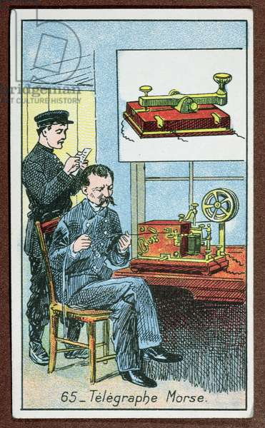 The invention of telegraphy with Morse code, number 65 in a series of cards depicting great inventions, c.1910 (colour litho)