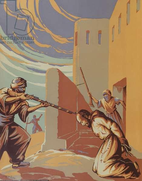 The Assassination of Father Charles Eugene de Foucauld (1858-1916) in Tamanrasset, 1st December 1916, illustration from 'Le Pere de Foucauld' by Duparc, c.1940 (litho)