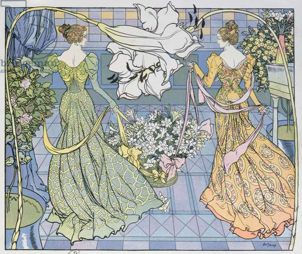 Women surrounded by flowers, c. 1900 (colour engraving)