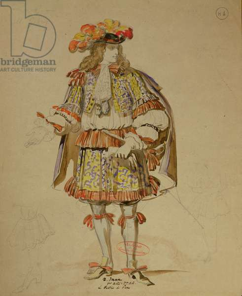 Costume design for an 1847 production of 'Don Juan' by Moliere (1622-73) at the Comedie Francaise (pen & ink and w/c on paper)