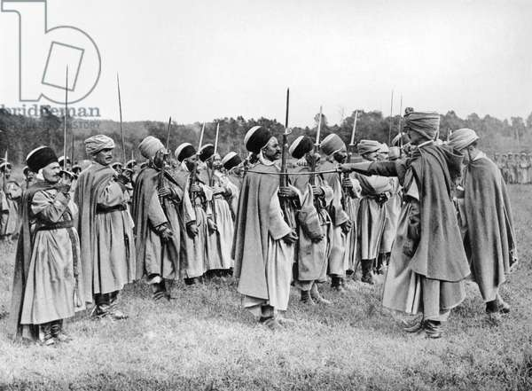 The Regiment of Spahis being awarded, Oise, c. 1914-18 (b/w photo)