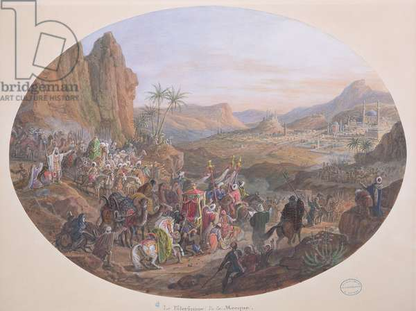 Design for a set of plates depicting 'The Pilgrimage to Mecca', for the Manufacture de Sevres, c.1839-40 (gouache on paper)