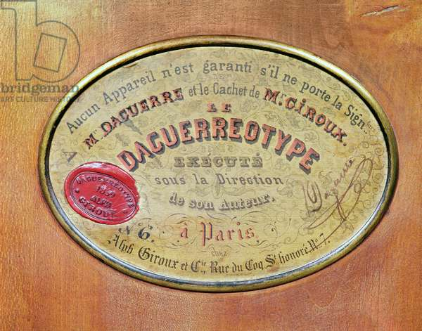 Label on the Camera used by Louis-Jacques Daguerre (1787-1851) (metal) (detail of 257981)