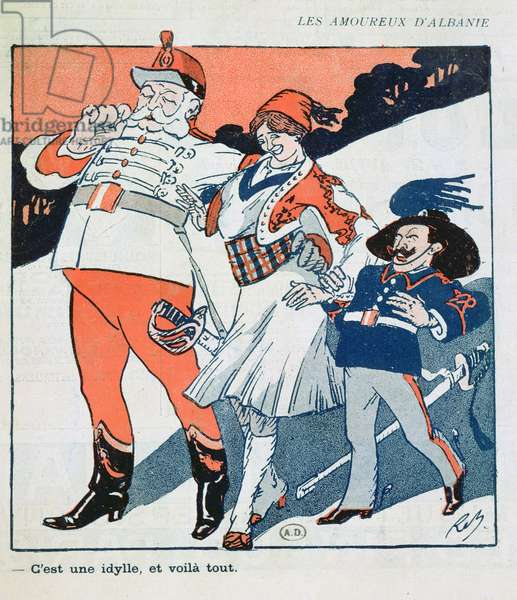Albania being courted by Austria and Italy, 1913 (colour litho)