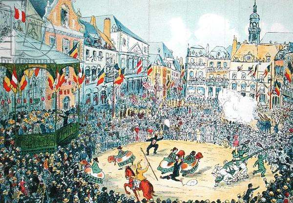 The 'Lumecon' at Mons (colour litho)