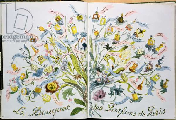 Le Bouquet des Parfums de Paris, illustration from 'Vogue', 1st February 1947 (colour litho)