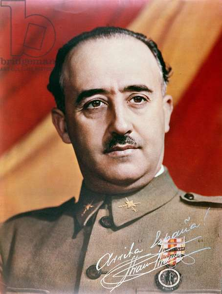 Official Portrait of General Francisco Franco (1892-1975) (coloured photo)