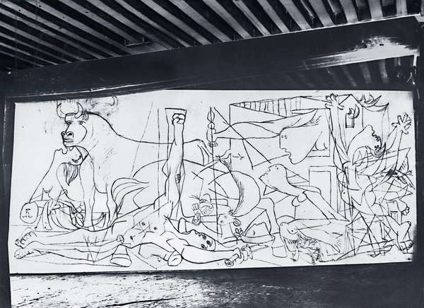 View of the preparatory study of the painting 'Guernica' by Pablo Picasso in his studio, rue des Grands-Augustins, Paris, illustration from 'Verve', no.1, December 1937 (b/w photo)