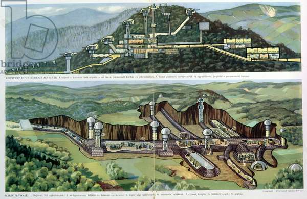 Cross section view of the Maginot Line, illustration from the 'Illustrated London News', reprinted in a Hungarian magazine, c.1940 (colour litho)