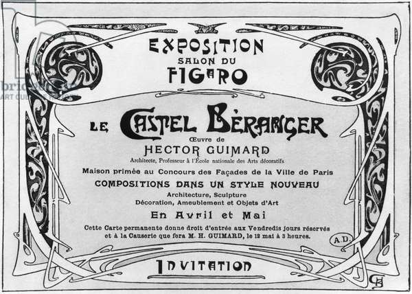 Invitation card for an exhibition on the Castel Beranger, Salon of the Figaro (b/w photo)