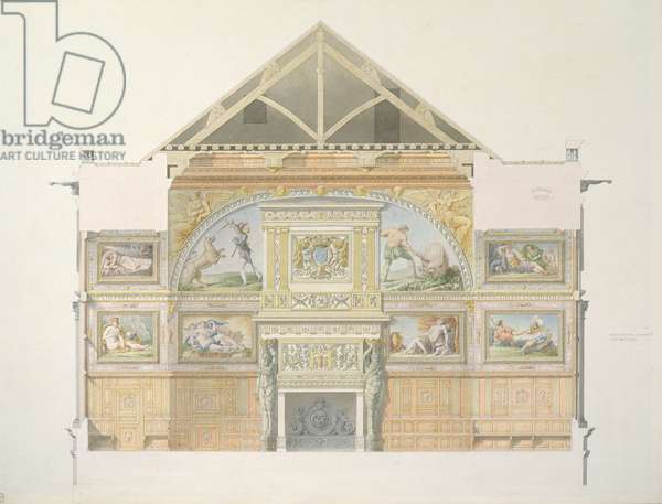 Ms 1014  Elevation of the ballroom at Fontainebleau, plate from an album (w/c & pencil on paper)