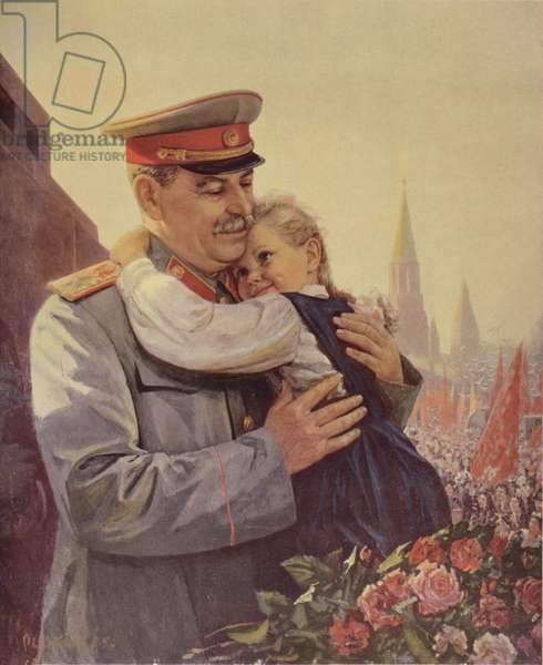 1st May, Stalin (1879-1953) Holds a Child in his Arms, 1952 (colour litho)