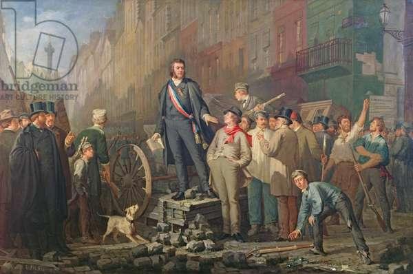 Alphonse Baudin on the Barricade of Faubourg Saint-Antoine, 3rd December 1851 (oil on canvas)