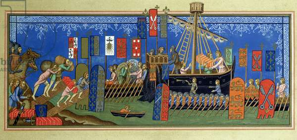 The embarkation of the Knights of the Holy Spirit for the crusades, after a miniature in the 'Statuts de l'ordre du Saint-Esprit de Naples' manuscript in the Louvre, engraved by Felix Regamey (1844-1907) late 19th century (colour litho)