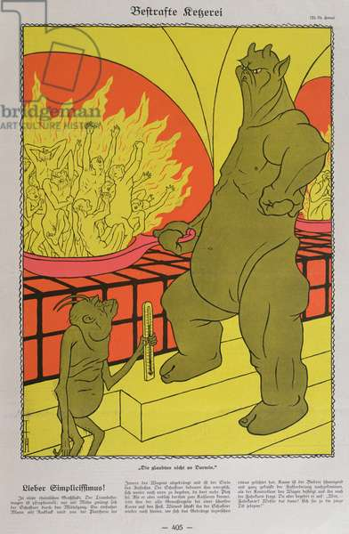 The Devil Burning the Disbelievers, from 'Simplicissimus', 12th October 1925 (colour litho)
