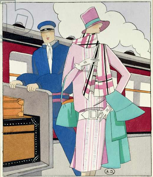 The Station, fashion plate from 'Art, Gout, Beaute', 1st September, 1927 (pochoir print)
