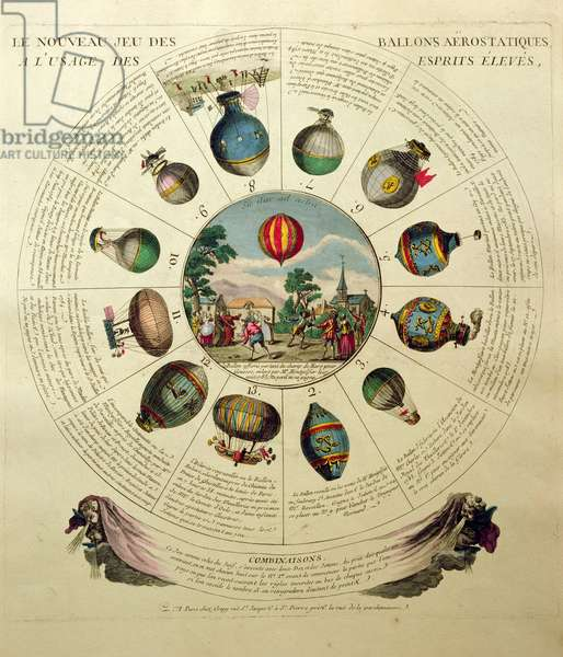 The Ballooning Game, with illustrations of different hot air balloons, c.1784 (coloured engraving)