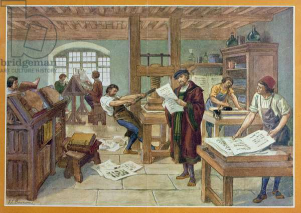 The Invention by Gutenberg of Moveable Type printing, illustration from 'First Book of French History' by A. Aymard, published by Hachette, 1933 (colour litho)