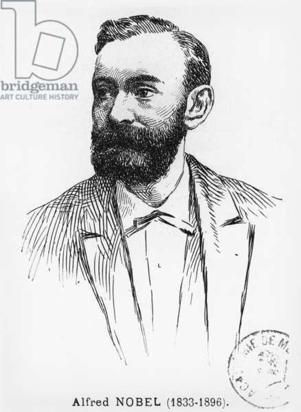 Alfred Nobel (1833-96) (engraving) (b/w photo)