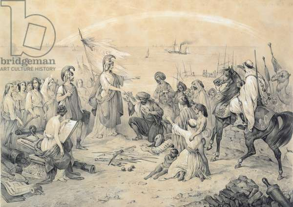 'Conquest and Civilisation', allegory of the French invasion of Algeria on 5th July 1830, c.1830-40 (litho)