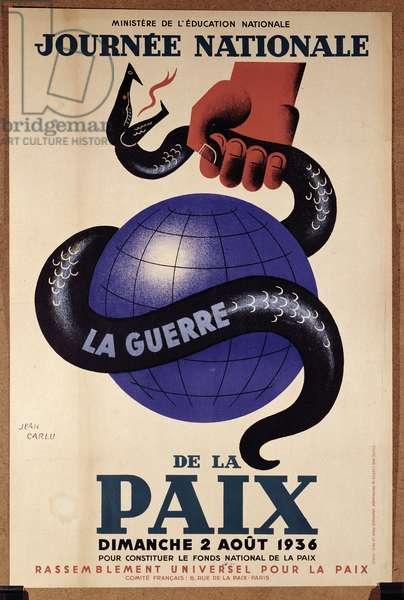 Poster for the 'Journee Nationale de la Paix', 2nd August 1936 (colour litho)