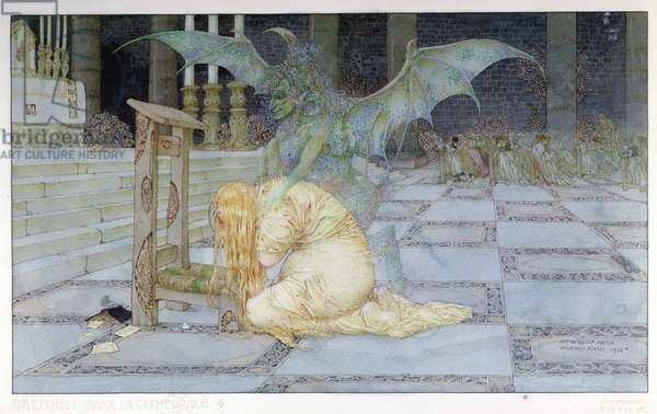 Gretchen in the Cathedral, 1913 (colour litho)