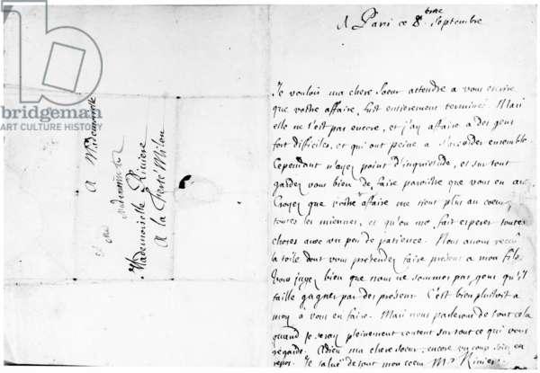 Letter to his sister, Marie, at La Ferté-Milon (pen and ink on paper)