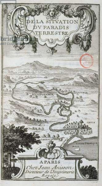 Map from 'De La Situation du Paradis Terrestre', 1691 (engraving)