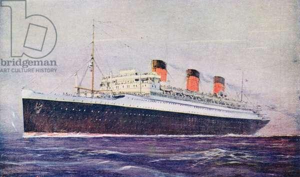 Promotional postcard depicting the 'Ile de France' liner for the 'Compagnie Generale Transatlantique' (colour litho)