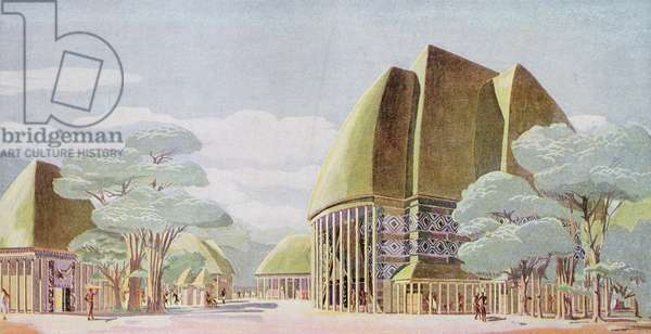 Pavilions of the Mandated African Territories at the International Overseas Exhibition, Paris, 1931 (colour litho)