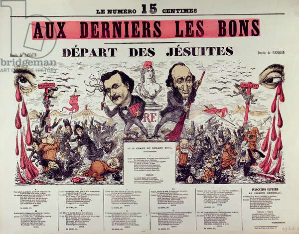 The Departure of the Jesuits, 1880 (colour litho)
